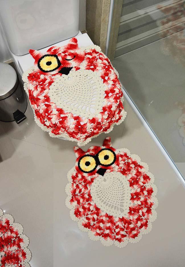 Tapete de crochê coruja jogo de banheiro