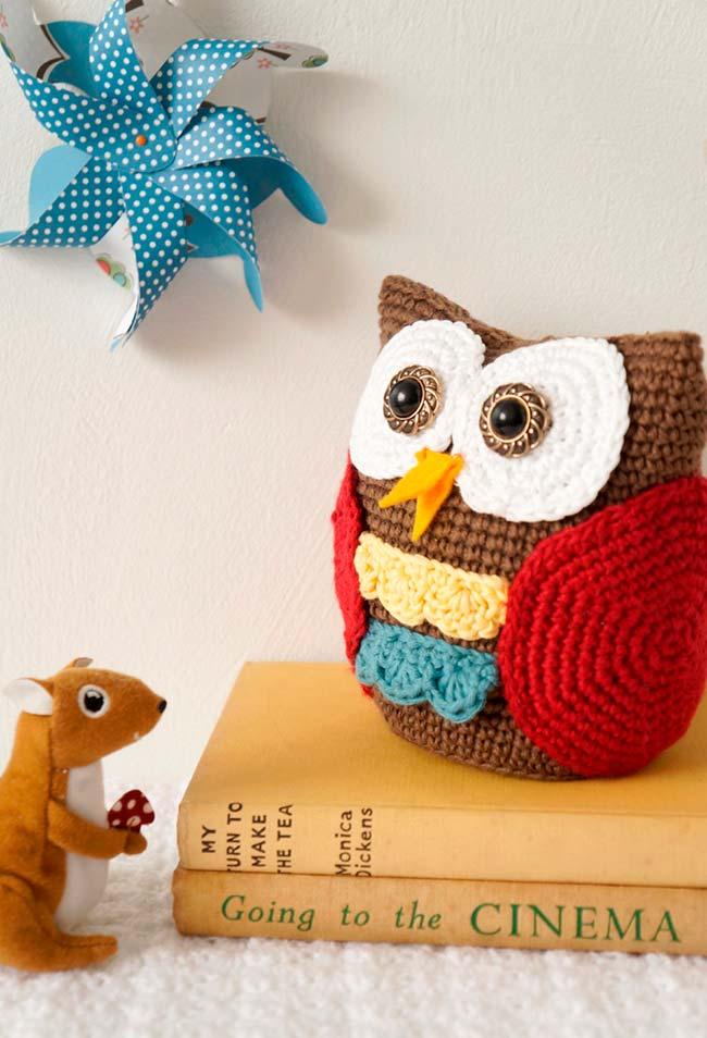 Pelúcia coruja de crochê para apertar muito e criar decorações incríveis