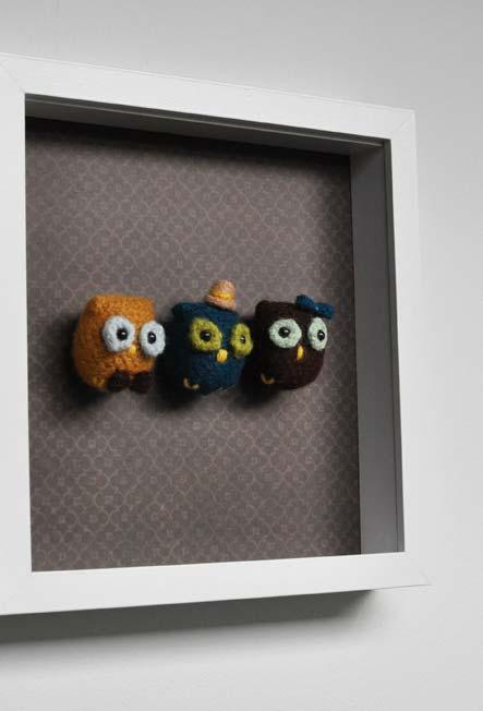 Quadrinho amigurumi: corujinhas simpáticas em diversas cores