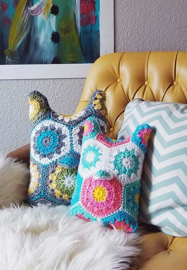 Mais almofadas inspiradas nas corujas de crochê