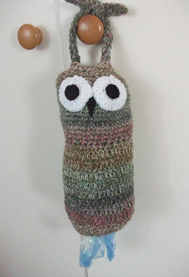 Puxa-saco coruja de crochê