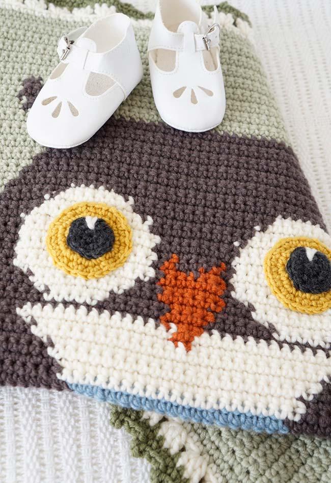 Outra ideia de tapete de crochê coruja