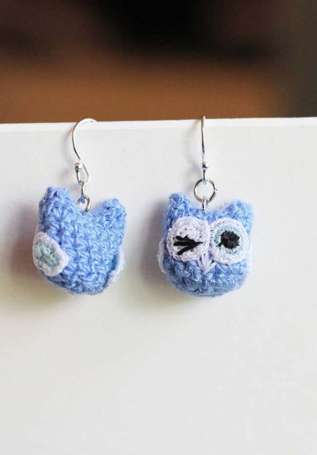 Outra ideia de brincos de corujas de crochê
