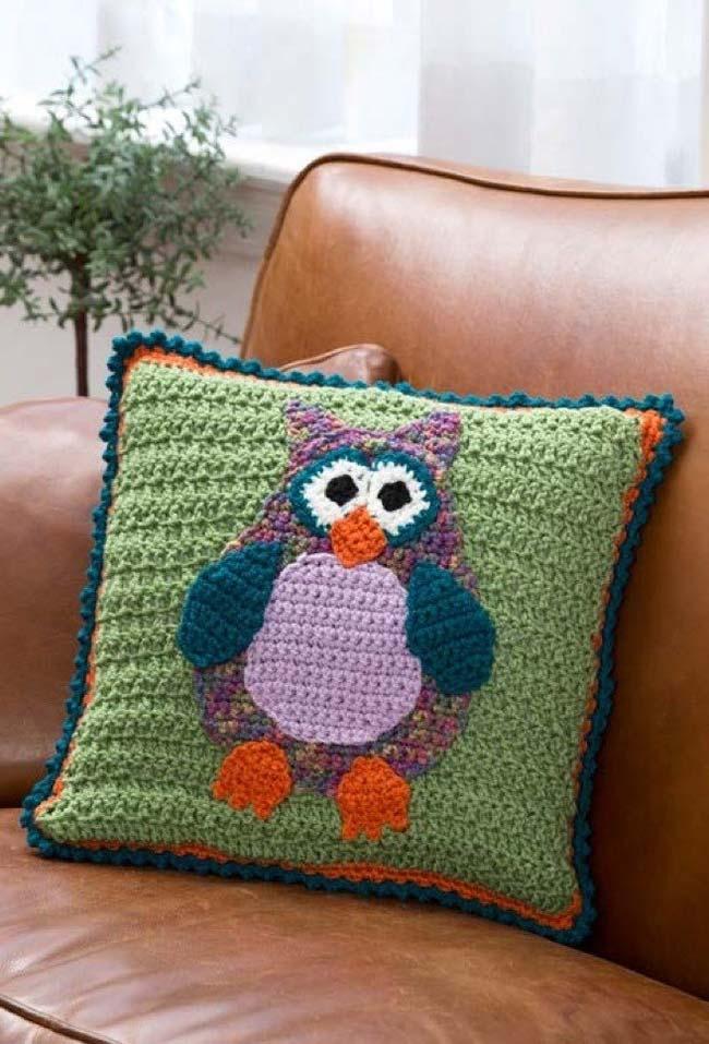 Capas para almofada de crochê com estampa de coruja