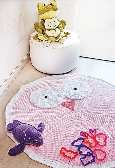 Mais uma ideia de tapete de coruja de crochê