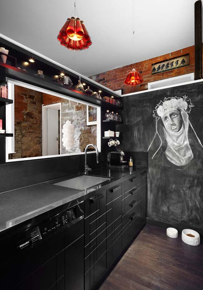 Cozinha preta num estilo urbano