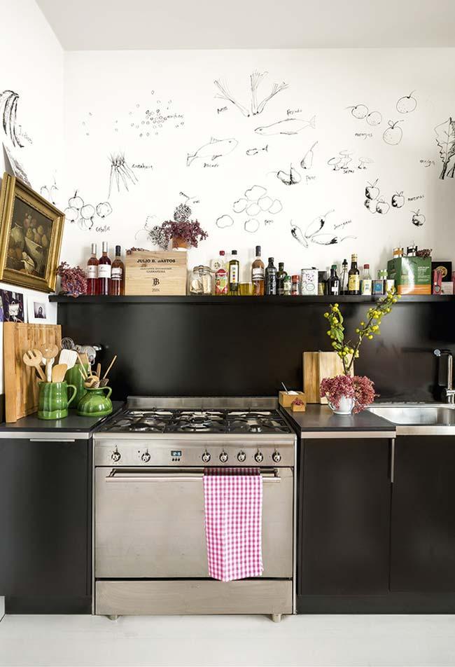 Cozinha preta criativa