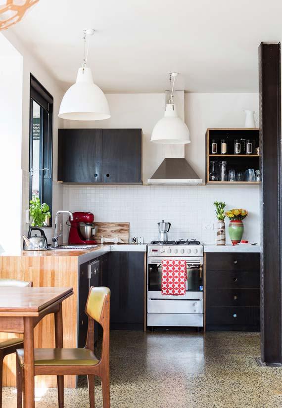 Cozinha simples preta