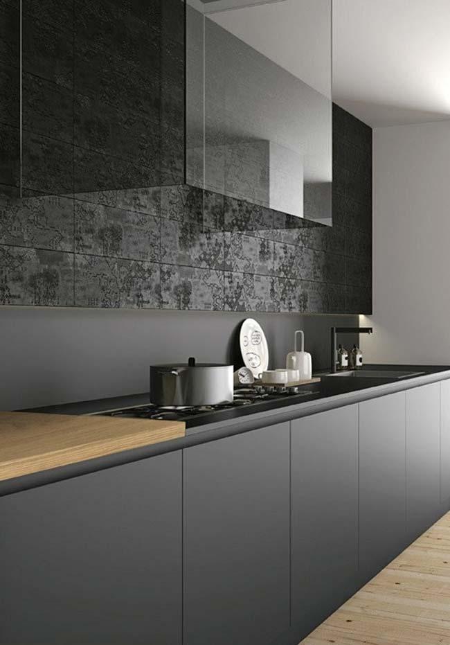 Cozinha minimal e tecnológica em preto fosco: