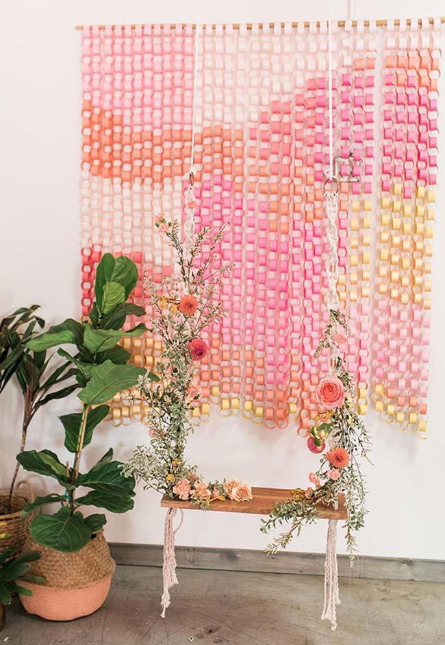 Decoração chá de bebê com cortina