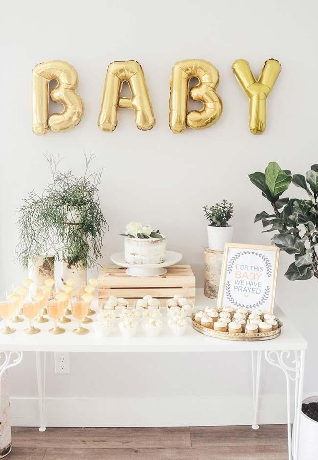 Decoração chá de bebê com balões