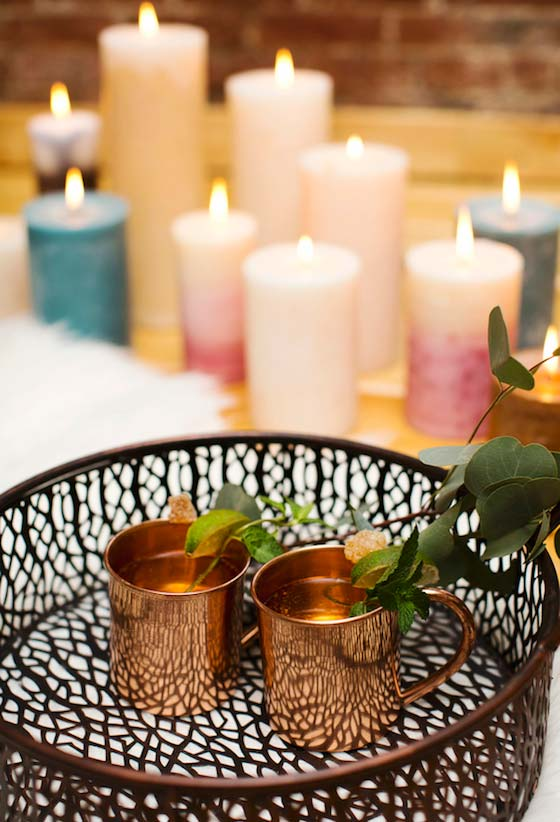 Decoração de jantar romântico a luz de velas