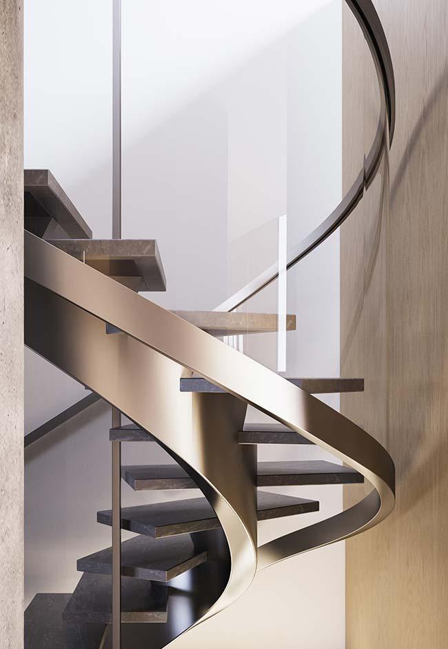 Escada caracol de aço inox