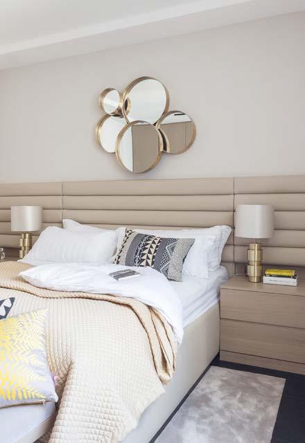 Espelho para quarto com bolhas para decoração acima da cama