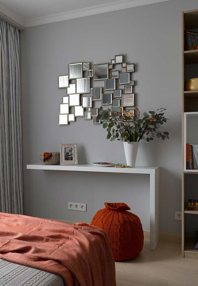 Espelho para quarto retratos de família para aparador de ambiente: inspirados nos porta-retratos, esse espelho é composto de vários retângulos emoldurados em diversos tamanhos