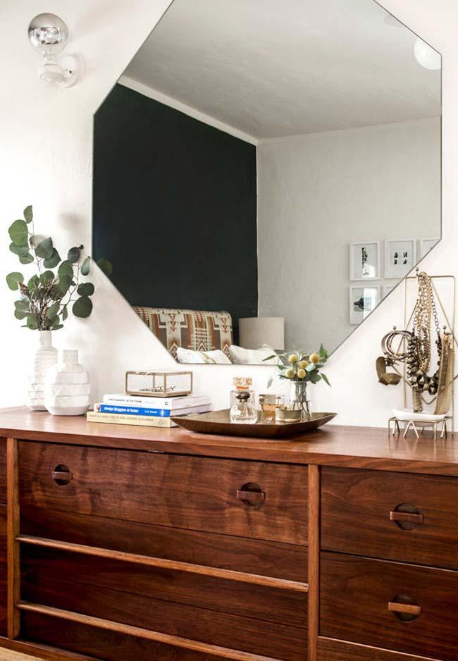Espelho para quarto hexagonal grande
