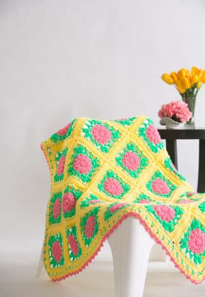 Manta de crochê floral