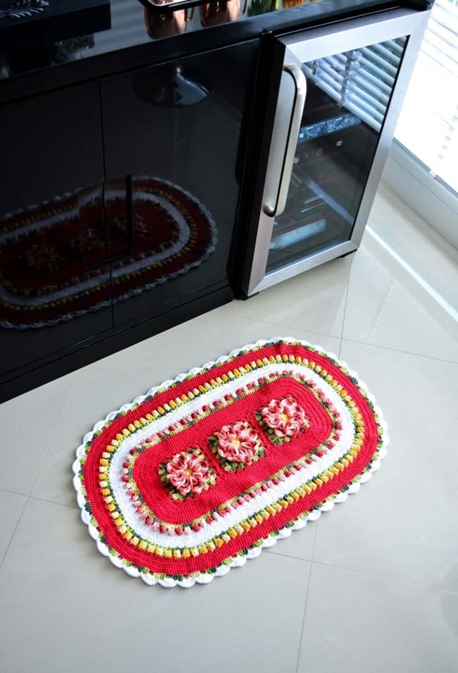 Flor de crochê no tapete
