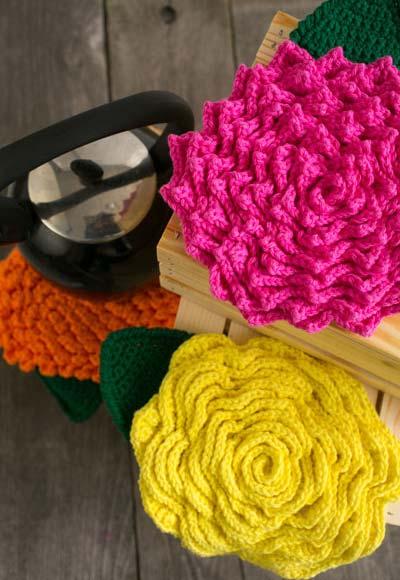 Descanso de panela flores de crochê