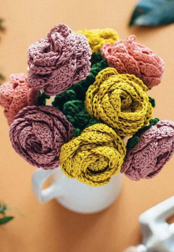 Vaso de flores de crochê para fazer em casa