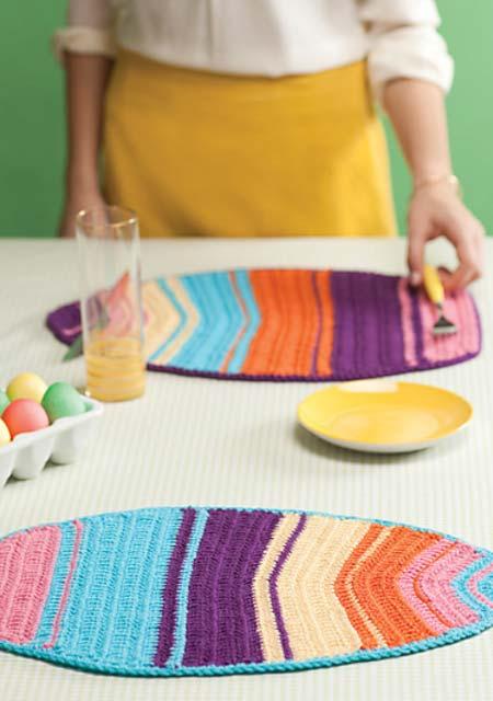 Outras formas e desenhos para o jogo americano de crochê