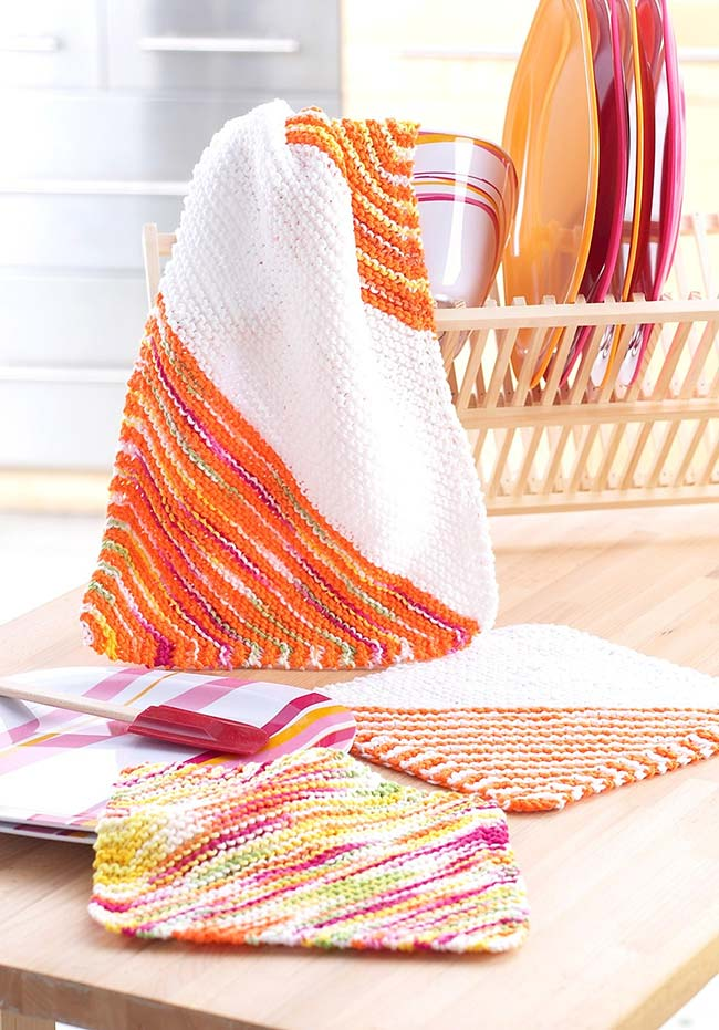 Jogo de cozinha de crochê com linha mesclada