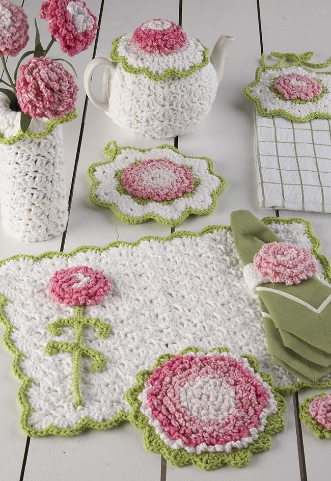 Jogo de cozinha de crochê completo para a sua mesa