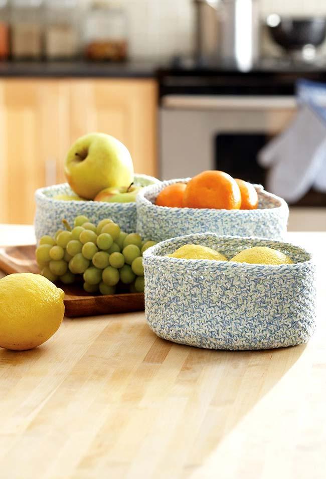 Cachepots para armazenar suas frutas e compor uma decoração para a sua mesa