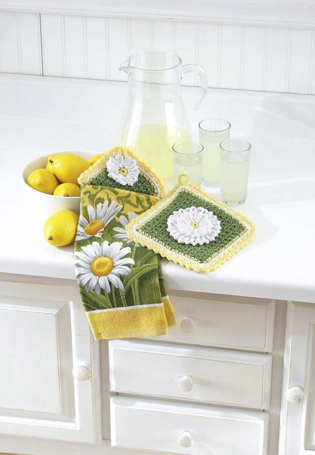 Apoios para panelas de crochê em sintonia com a decoração da sua cozinha