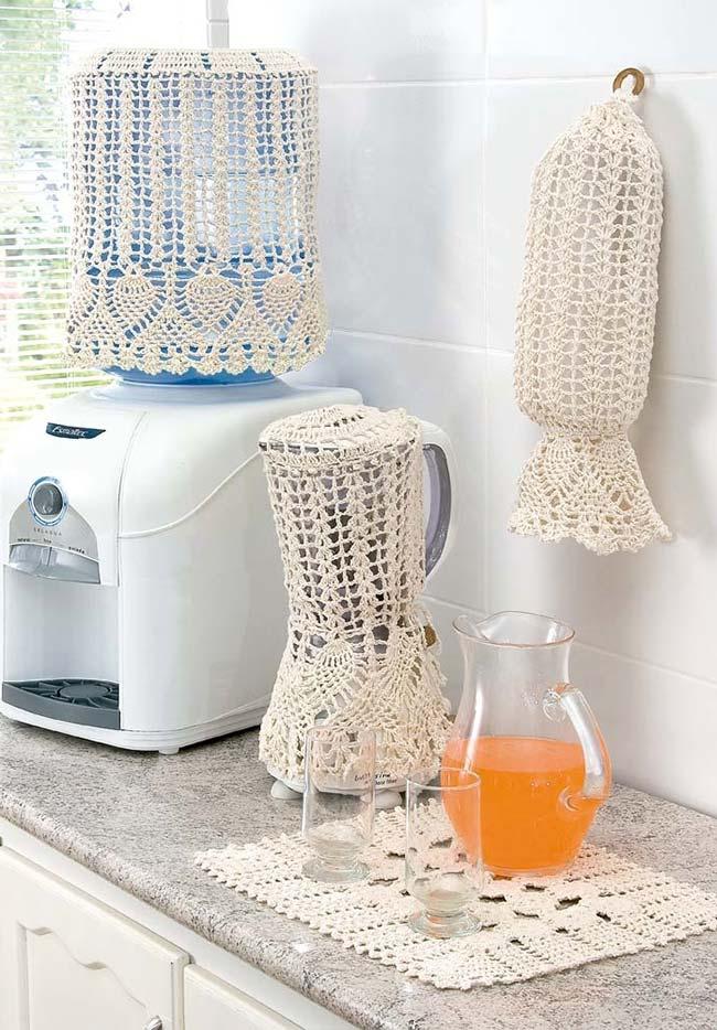 jogo de cozinha de crochê completo
