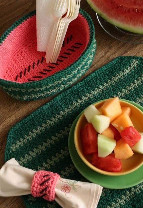 jogo de cozinha de crochê em três peças melancia