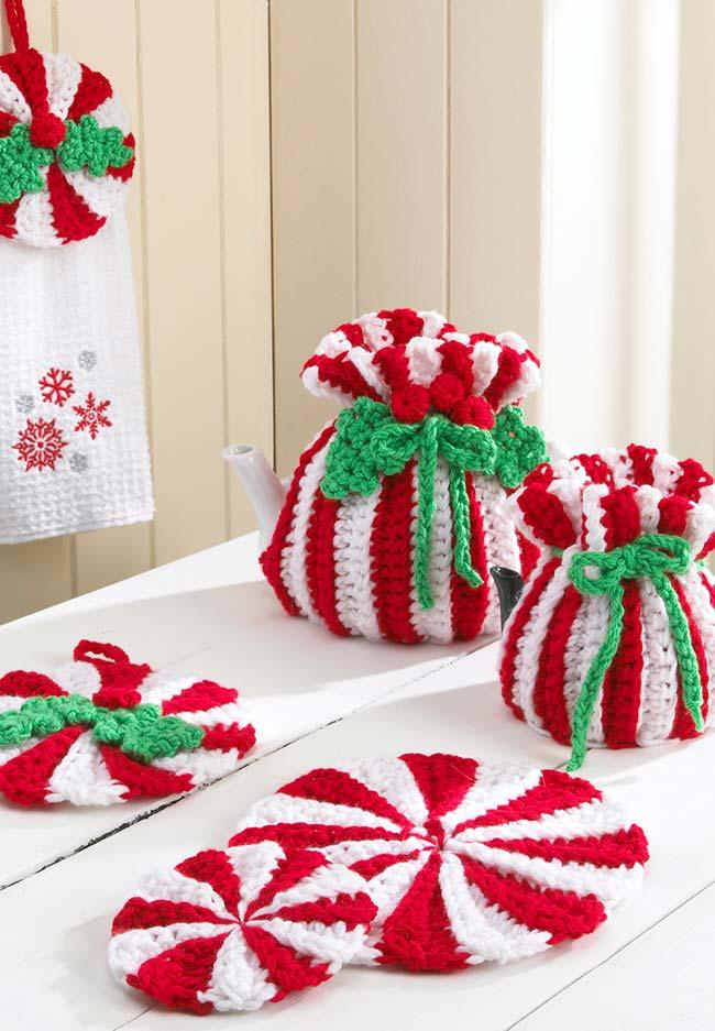Jogo de cozinha de crochê em tema natalino