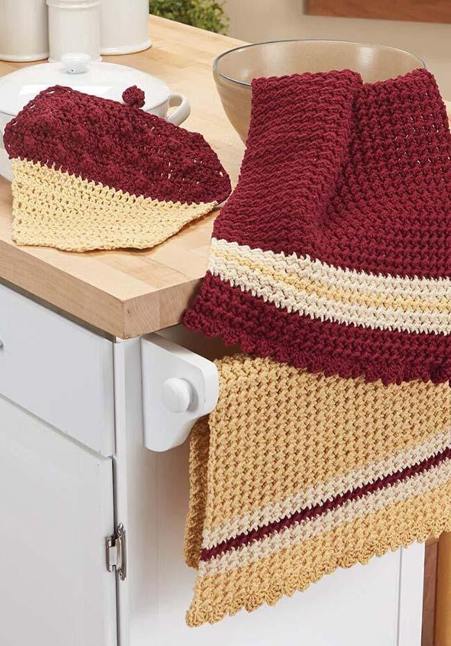 Mais ideias de toalhas para a cozinha feitas em crochê