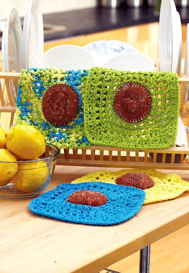 Jogo de porta-copos de crochê: super coloridos para a sua cozinha e fáceis de lavar