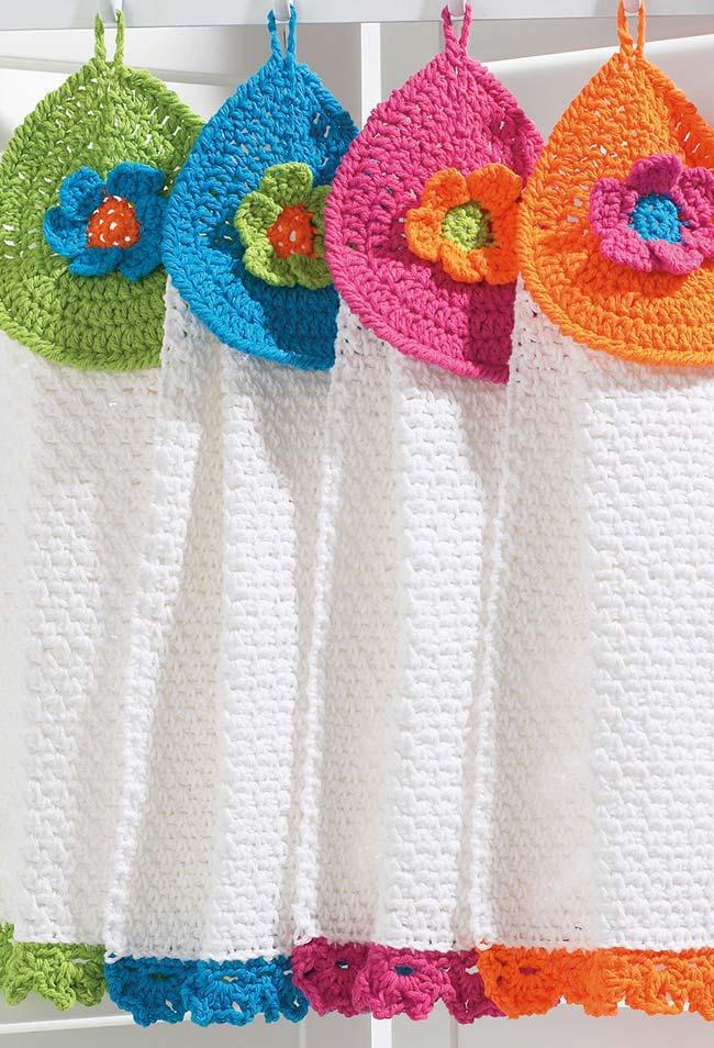 Paninho para secar as mãos de crochê para pendurar na sua parede