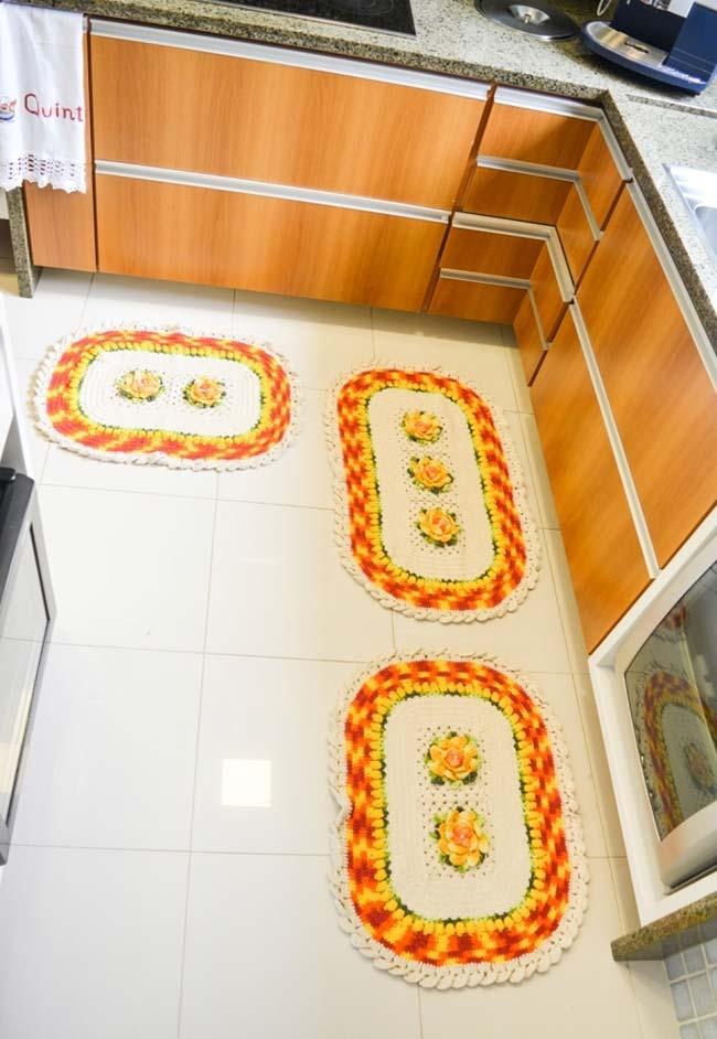 Conjunto de tapetes para cozinha em crochê