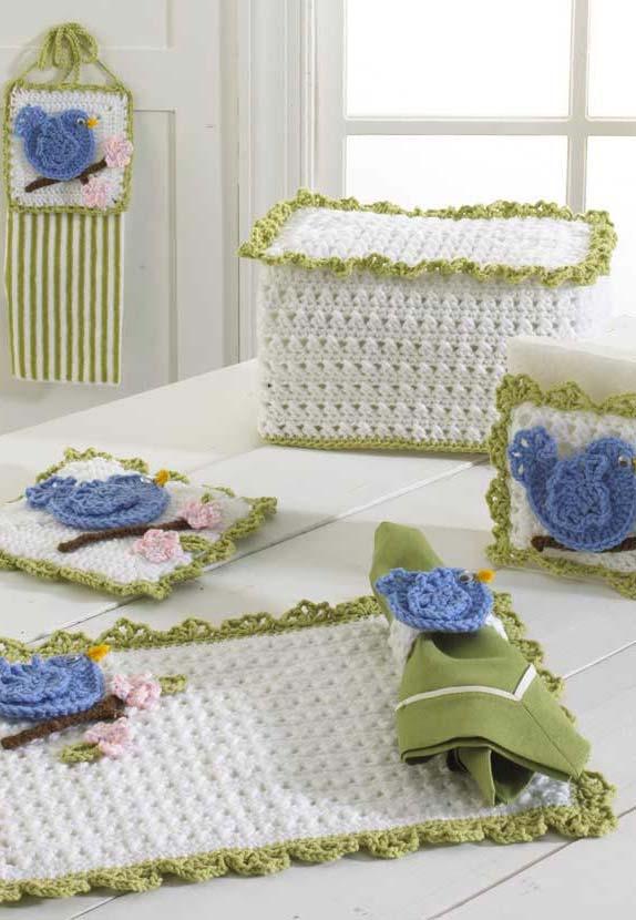 Jogo de cozinha de crochê inspirada nos passarinhos azuis