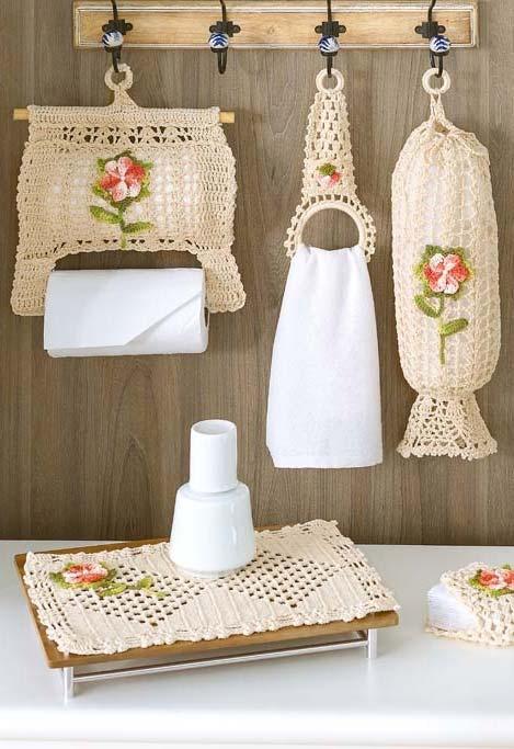 Mais um conjunto completo de crochê para a cozinha super útil