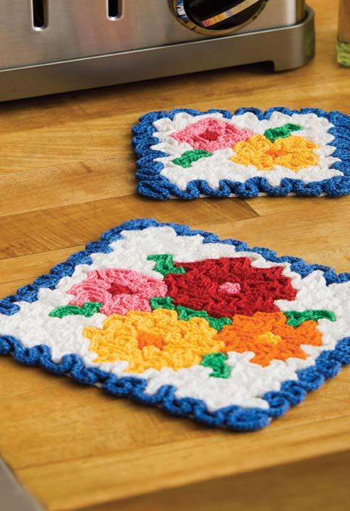 Apoios para panelas floral em crochê