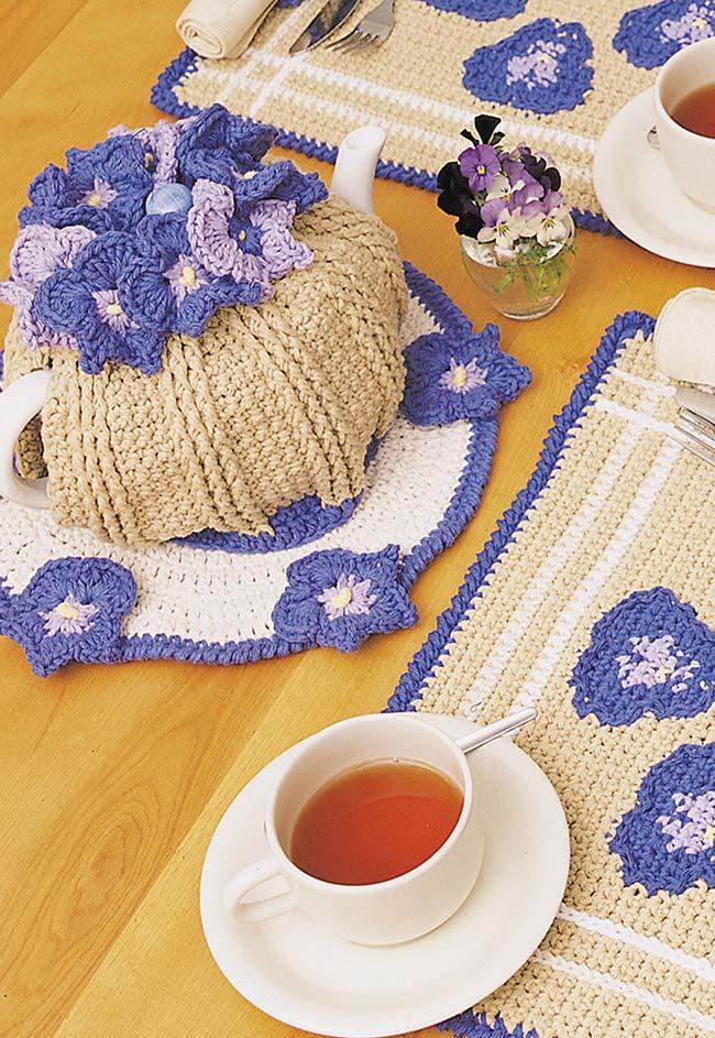 conjunto de cozinha de crochê
