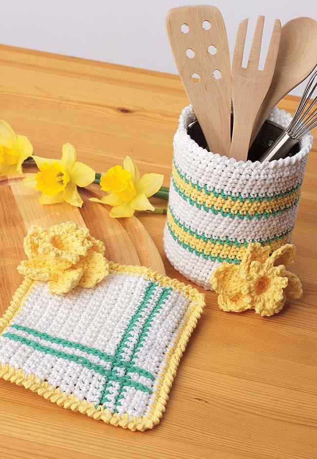 cachepot para talheres e apoio para panela de crochê
