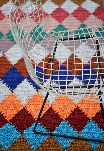 Detalhes da passadeira de crochê colorida