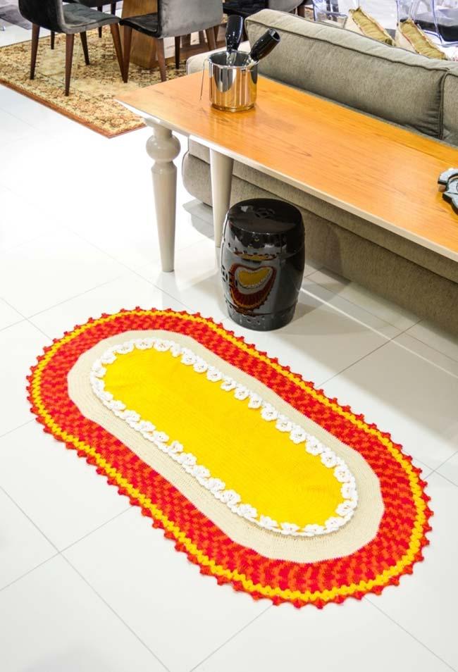 Passadeira de crochê oval para o seu aparador ou área de passagem