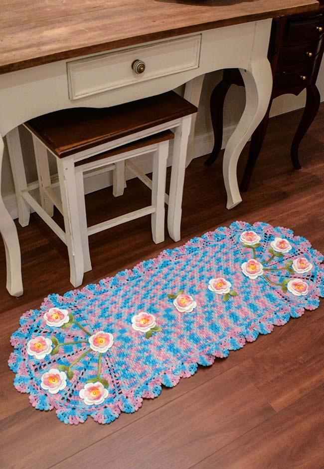 passadeira de crochê oval com barbante colorido
