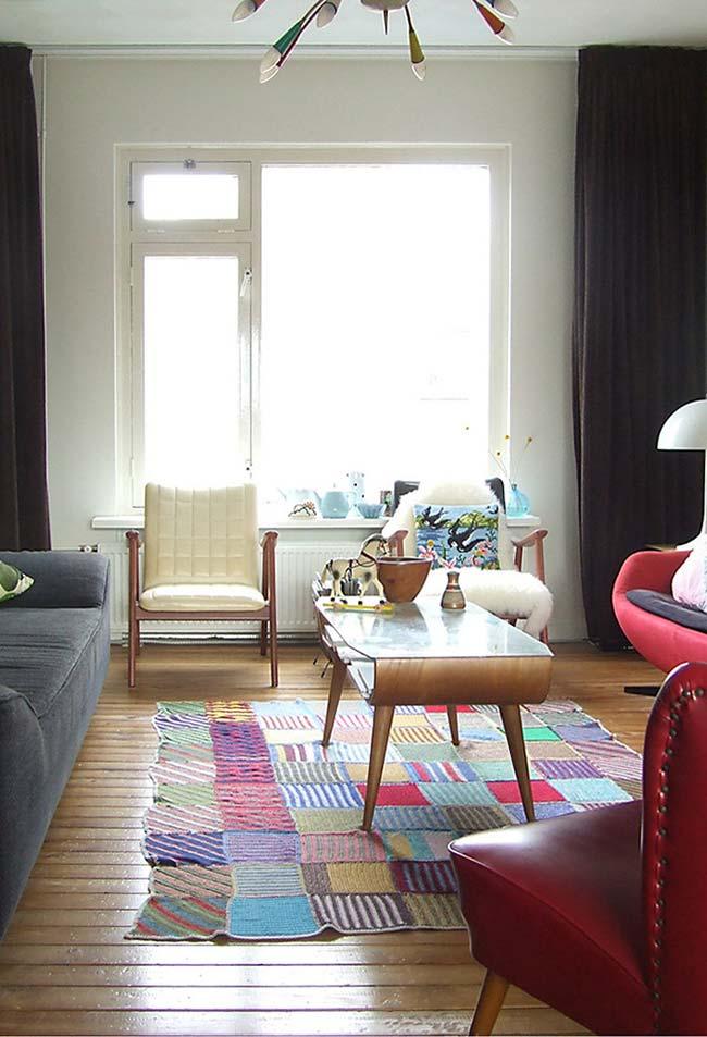 Tapete de crochê quadrado a partir de quadradinhos menores e super coloridos
