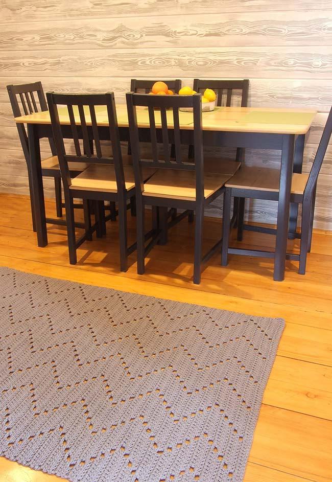 Tapete de crochê quadrado zigue-zague para sala de estar
