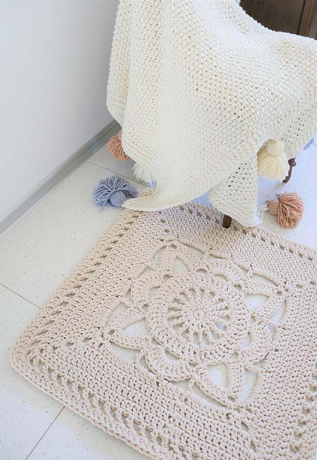 Outra ideia de tapete de crochê quadrado simples