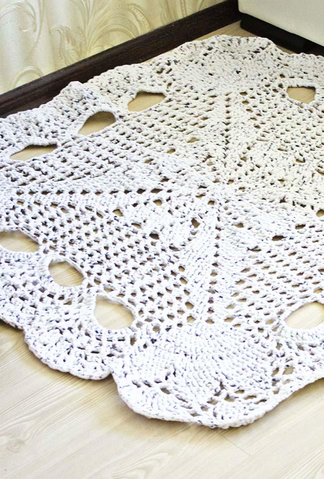 Tapete de crochê quadrado com estrela de quatro pontas