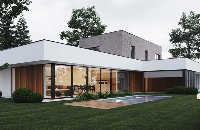 Casa moderna com piscina e telhado embutido