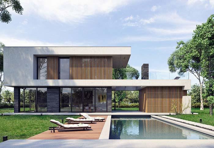 casa com dois pavimentos e telhado embutido